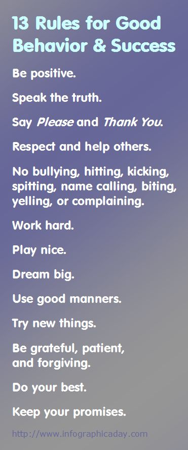 13 Rules for Good Behavior & Success   Infographic A Day - Work hard. ... Play nice. ... Dream big. ... Use good manners. ... Try new things. - - - #Fitness Matters