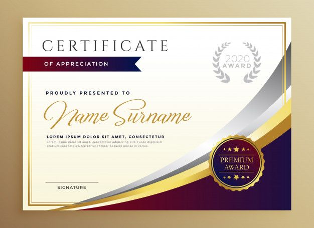 Download Stylish Certificate Template Design In Golden Theme For