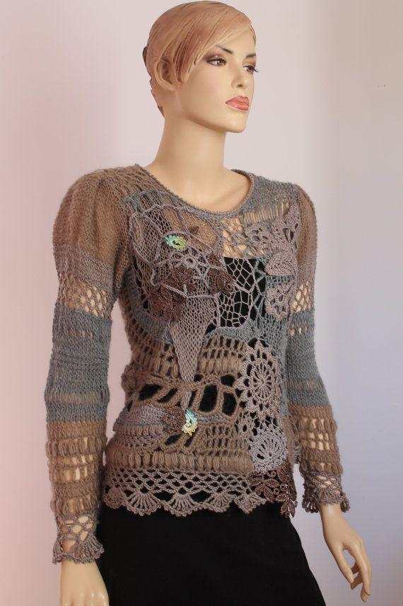 Knitting Wearable Art : Custom order for alkeheilmann art to wear freeform crochet