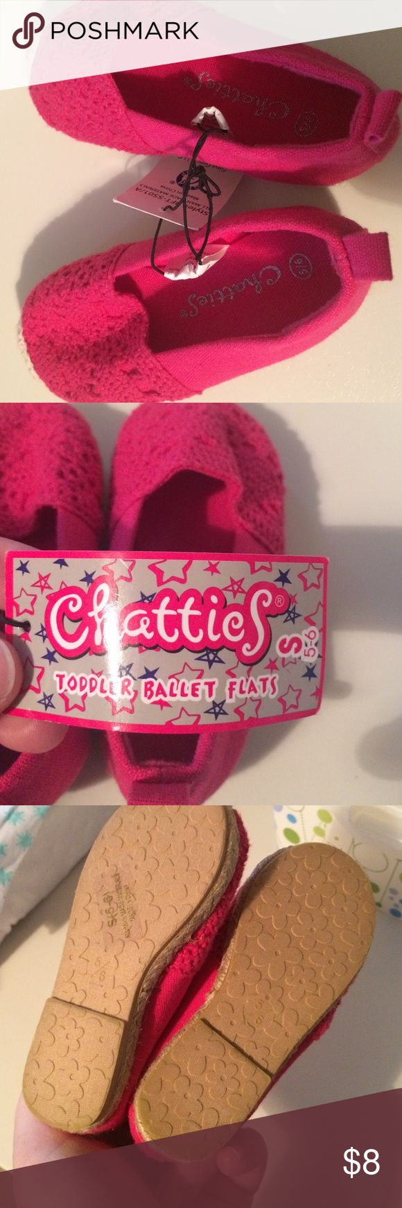 Toddler Ballet Flats Hot pink, espadrille style ballet flats for toddler. New with tags. Chatties  brand; size 5/6. Shoes