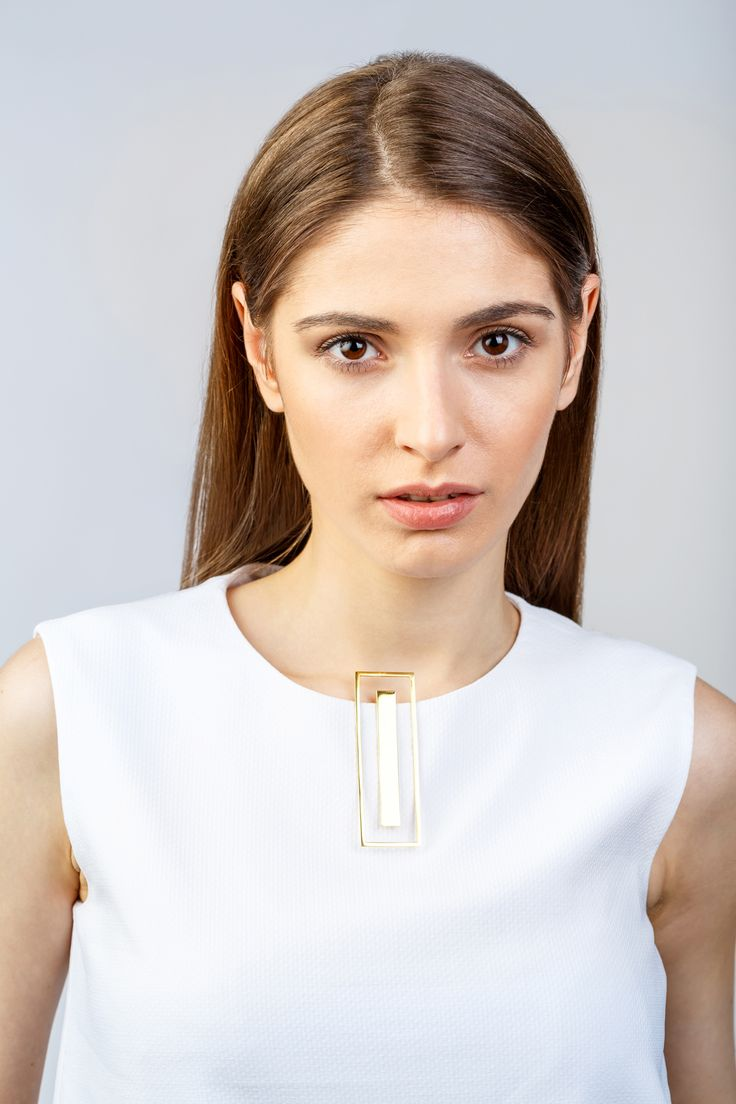 Minimalist Architectural Jewelry - Autline Pendant in 18K Gold Plated Sterling Silver by MOPHT Studio