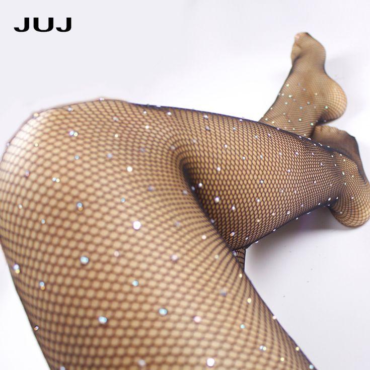2018 Sexy Diamond Womens Fishnet Tights Mesh Pantyhose Rhinestone Nylons Lady Stockings Shiny pantyhose Collant Hosiery Fish Net