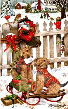 Welsh Terrier - Christmas Delivery -  by Margaret Sweeney