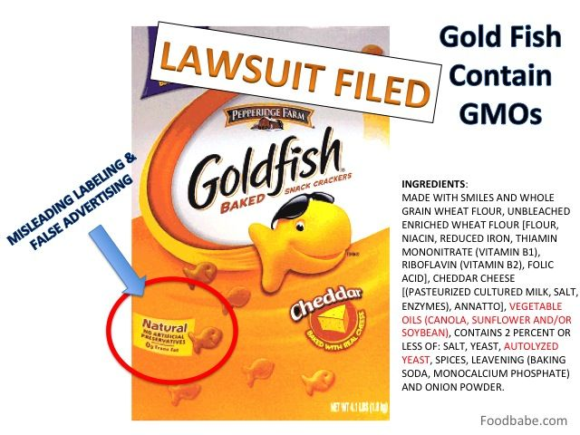 """""""I've been quoted before saying that I think Gold Fish is one of the most dangerous products on supermarket shelves. The reason I say this is because they are so friendly, unassuming, """"made with smiles"""" & look """"natural"""" enough for millions of families to feed them their children.They are nothing more than refined white flour colored with annatto, made with GMO oils & a certain special ingredient called """"autolyzed yeast"""" that is a hidden form of MSG."""" --Food Babe"""
