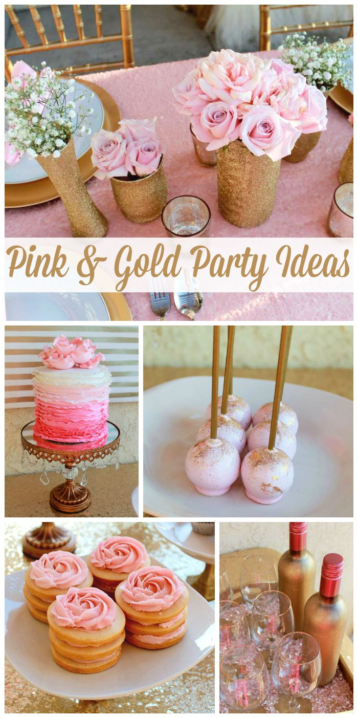 A pink and gold birthday with a gorgeous ruffle ombre cake, rose cookie stacks and sparkling decorations!  See more party ideas at CatchMyParty.com!