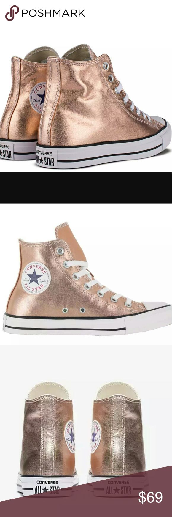 NEW: Converse Chuck Taylor Hi Top Rose Gold  Brand New! Sexy Rose Gold!   The classic Converse Chuck Taylor All Star with a sleek 2017 look   ✨ Note: Size 9 has minor scuffing on inside of right sneaker. Just below the Converse emblem. See last pic.✨ Converse Shoes Sneakers