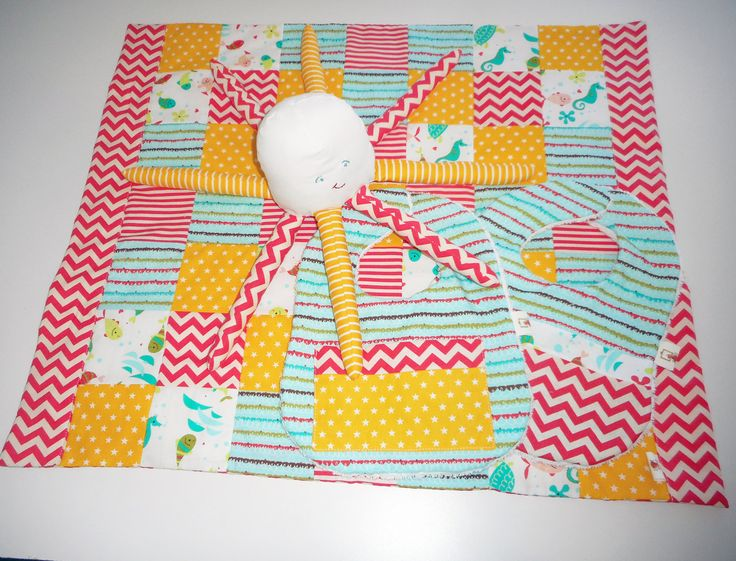 Handmade Pram Quilt Set- Quilt, Soft Toy and Two Bibs. Under the Sea. by TheLullabyeGallery on Etsy