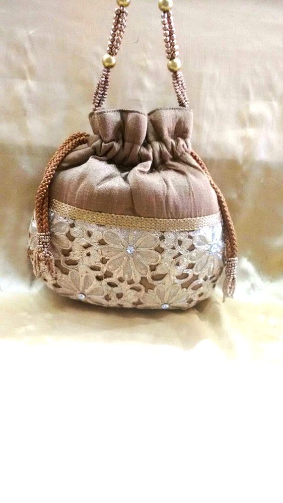 Vintage Silk Indian potlibag women hand purse by JashnBoutique