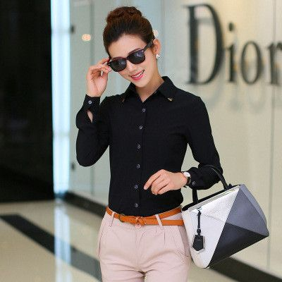 Pure Collar OL Turn-down Collar Slim Long Sleeves Blouse