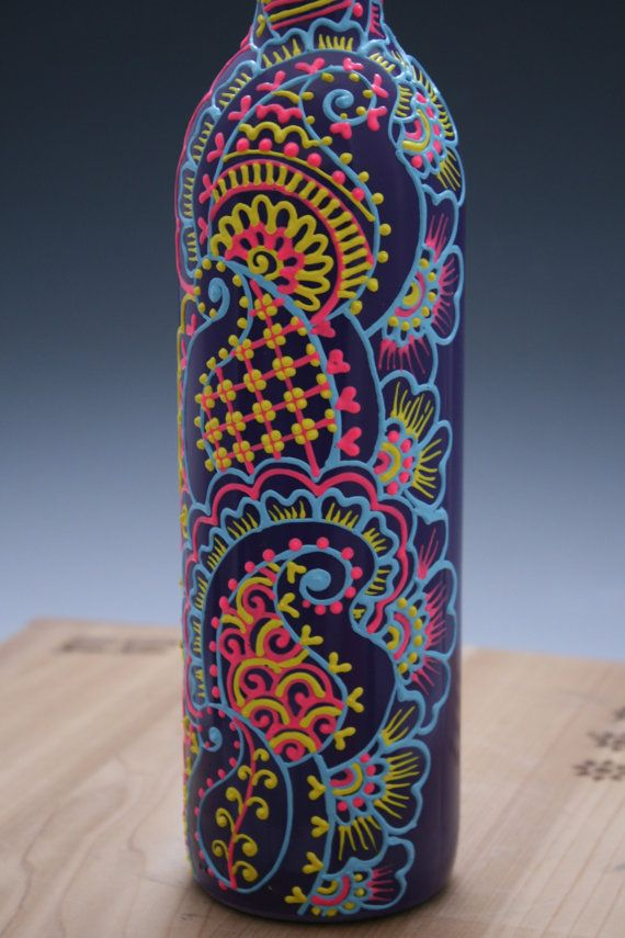 Hand Painted Wine bottle Vase, Purple with blue, yellow, and pink accents, Colorful Henna style design