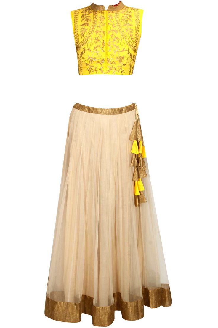 Yellow sequins embellished crop top with off white lehenga availaible only at Pernia's Pop Up Shop.