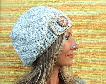 SNOW Grey SLOUCHY Beanie hat crochet slouch hat FLOWER button hand made Gray Beret Hat Womens slouchy Beanies two tone Baggy Hat GPyoga
