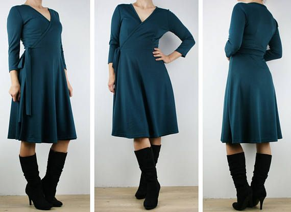 Wrap dress women dress knee length winter dress ladies wrap