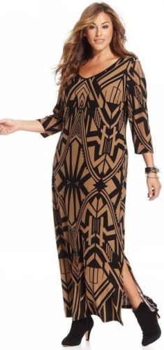 NY-Collection-Plus-Size-Maxi-Sweater-Dress-FULL-LENGTH-Geometric-Print-Gold #UNIQUE_WOMENS_FASHION
