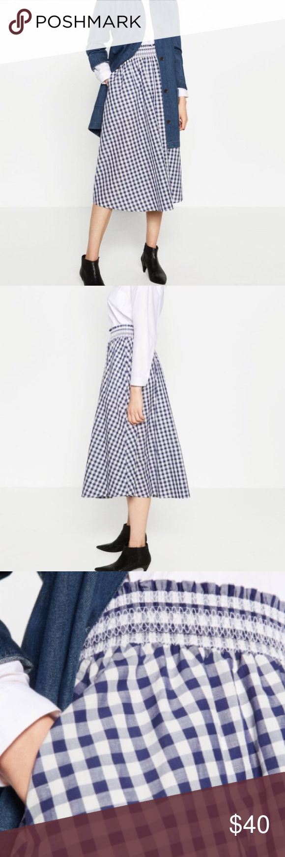 NWT Zara gingham checked blue white Midi skirt Beautiful gingham skirt with elastic waist. Great for summer and spring Zara Skirts Midi