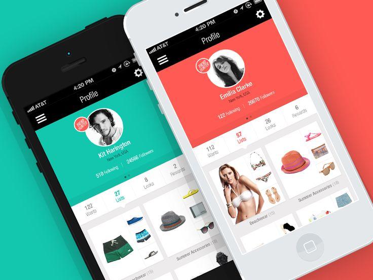 Flat Profile for Social Fashion Network - iOS app by Helder Leal - via Dribble