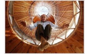 william coperthwaite sitting a top level of his yurt