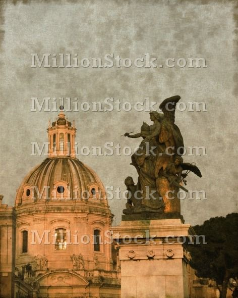 Vintage image of a Church dome and an angel in Rome, Italy