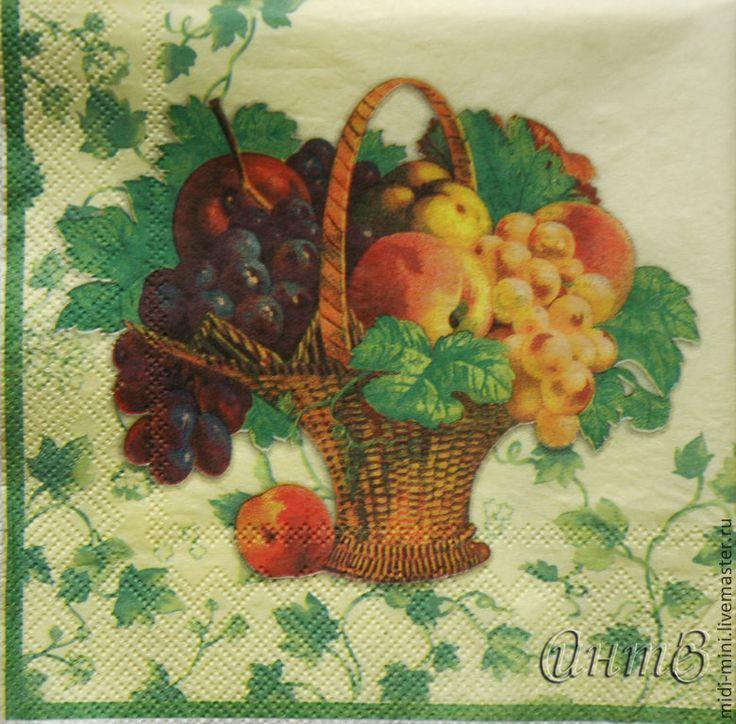 Купить салфетки декупаж корзина с фруктами виноград персики яблоки принт - салфетка декупаж