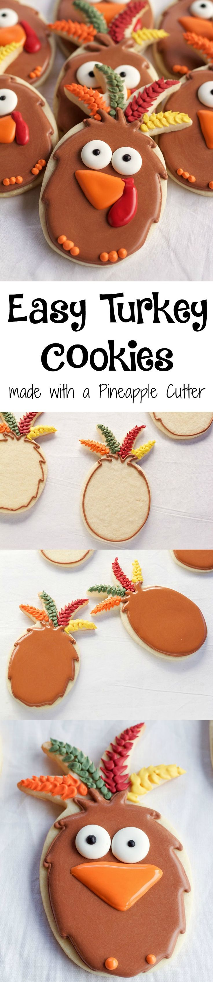 Easy Turkey Cookies made with a Pineapple Cookie Cutter | The Bearfoot Baker