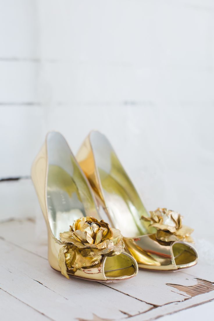 Freya Rose Gold Wedding Shoes with Rose Details