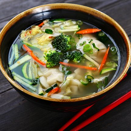 Pick up a bag of frozen potstickers and make this super fast and easy soup!