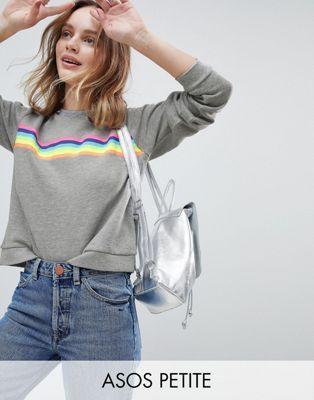 ASOS Petite   ASOS PETITE Sweat with Rainbow Stripe Detail