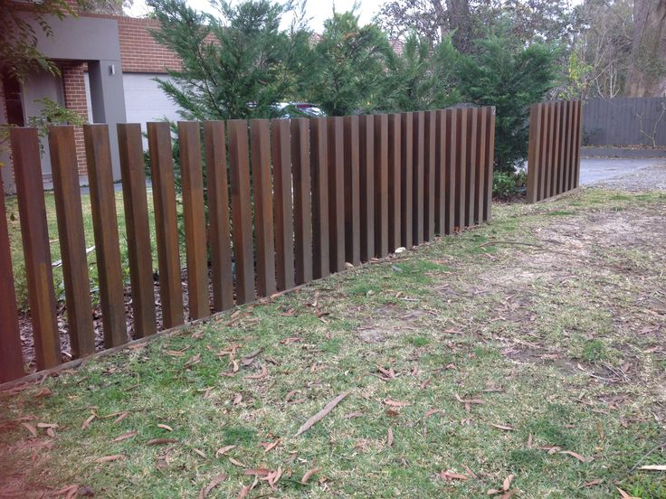 Steel fence, corten, contempory, Australia