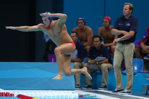 33 things to love about men's water polo: whenever someone jumps into the water.