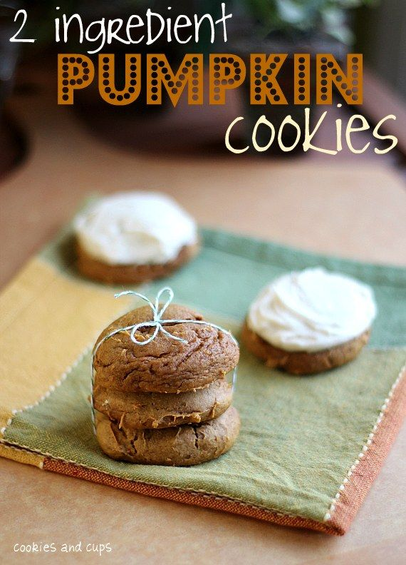 2 Ingredient Pumpkin Cookies;1 (15 oz) can of pumpkin and 1 box spice cake mix