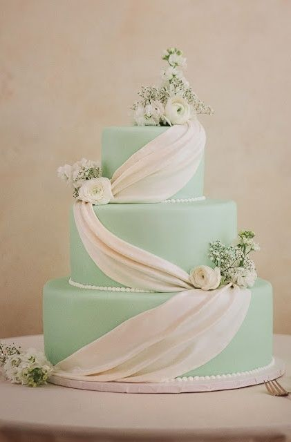 24 Gentle Mint Green Colored Wedding Cakes - http://www.2016hairstyleideas.com/wedding/24-gentle-mint-green-colored-wedding-cakes.html