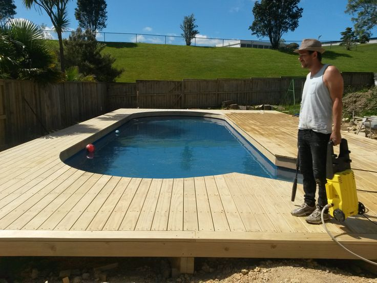 Wideboard Pine Deck, constructed around a para pool. a good result!