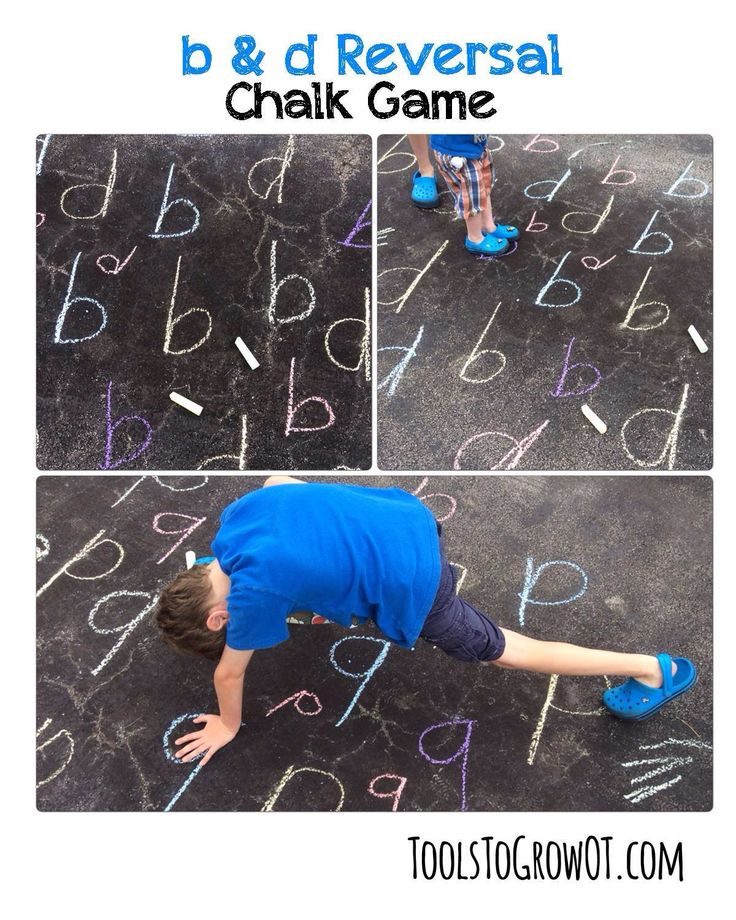 "b and d reversal game!! So super easy to play -- all you need is chalk! Using chalk, make b & d's in various sizes and colors. Call out a ""b"" or ""d"" and child has to run and stand on that letter. OR -- play Twister style, calling out a letter and a hand/foot (example, left hand b, right foot d). Works on so many skills and utilizes whole body learning! Can use other letters (ex/ p/q) and number combinations too! www.toolstogrowot.com"