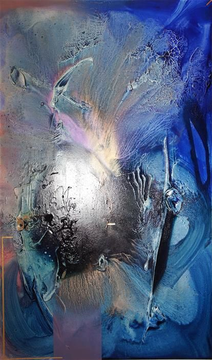Original art for sale at UGallery.com | At Sea Between Fossils and Satellites 12 by Melisa Taylor | $4,350 | mixed media artwork | 36' h x 60' w | http://www.ugallery.com/mixed-media-artwork-at-sea-between-fossils-and-satellites-12