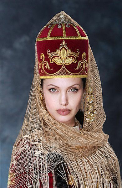 Kabarday bridal headgear. The Kabardin still consider themselves as a tribe of Adyghe (Çerkes/Circissian).  Style: late 19th century.