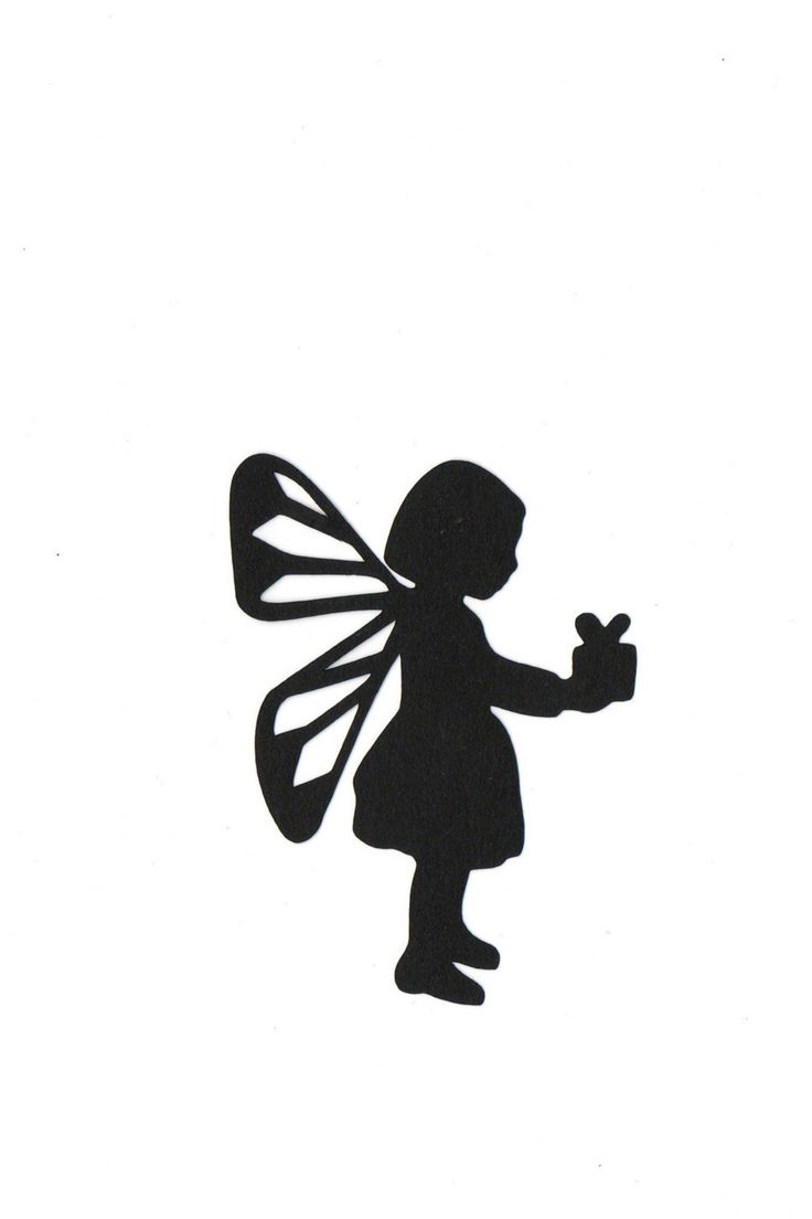 Child fairy holding present Silhouette die cut for scrap booking or card making