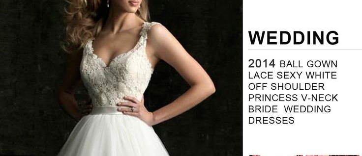 Women V-neck Bride Wedding Dresses Princess Sleeveless Ball gown Lace Sexy White off shoulder