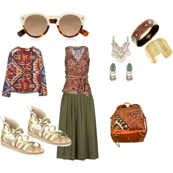 Olive Skirt Ethnic Style by edeln on Polyvore featuring, Ralph Lauren, MANGO, Ancient Greek Sandals, Theo Fennell, Hermès, Suzanna Dai and Illesteva