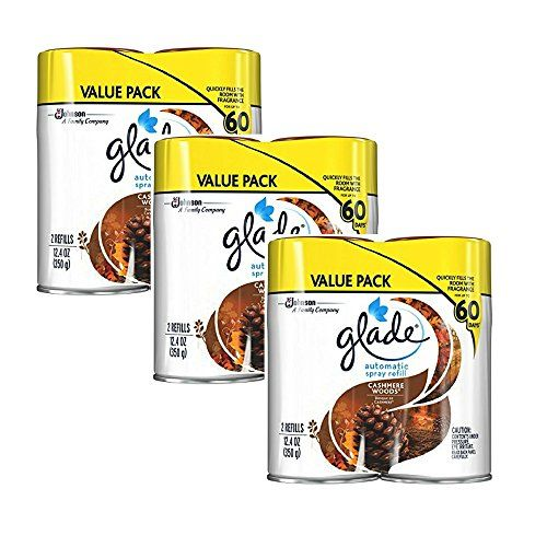 Glade Automatic Spray Air Freshener Refill, Cashmere Woods, 12.4 Ounce, 2 Refills (6 pack)