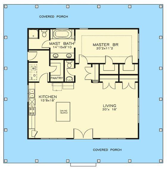 Plan 530006UKD: One Bedroom Southern Cottage