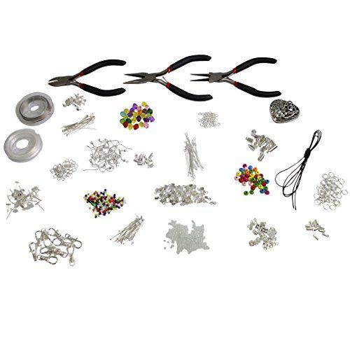 1000 Stück Tolles Hochwertiges Set zur Schmuckherstellung - Metallelemente, Kugeln, Kordeln, Schmuckdraht, Versilberte Accessoires von Kurtzy TM