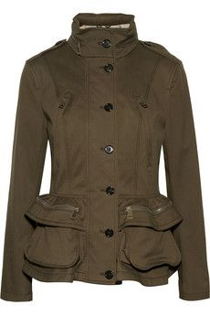 BURBERRY BRIT Cotton-blend peplum jacket love the military style!!!