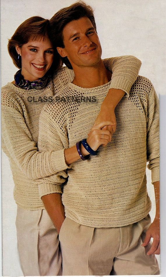 crew neck sweater crochet pattern,for men or women, vintage crochet pattern, sweater pattern, crew neck pullover, summer unisex sweaters,