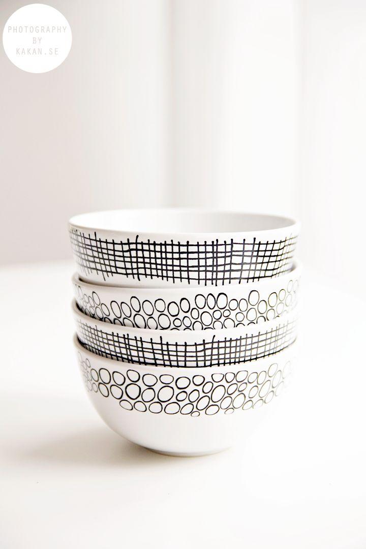 DIY: painted bowls