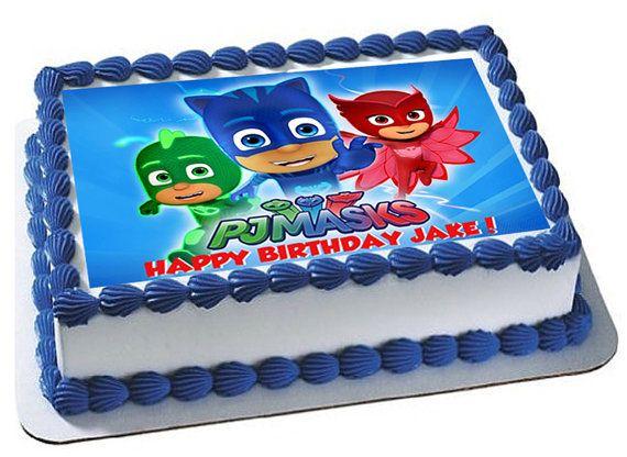La torta comestible de máscaras de PJ toppers de por FondantFairy