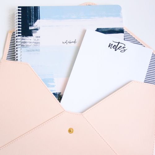 This notebook is the perfect way to take down notes in style and are great for yourself or as a gift! These 8.5 x 11″ spiral notebooks are made with 50 double sided thick sheets of wide ruled paper (lined in black ink), and features a thick plastic cover.