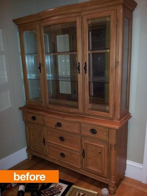Before & After: An Outdated Hutch Goes Cottage Chic....good idea for updating my mom's dated buffet/hutch, which looks almost exactly like the before picture