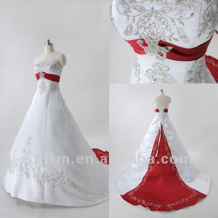 2013 Elegant Strapless White And Red Wedding Dresses :: I like the embroidery and the design of the colored parts...Again, blue would be perfect! ^_^