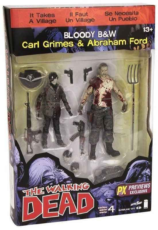 THE WALKING DEAD CARL GRIMES AND ABRAHAM FORD PREVIEWS EXCLUSIVE 2 PACK FROM MCFARLANE TOYS