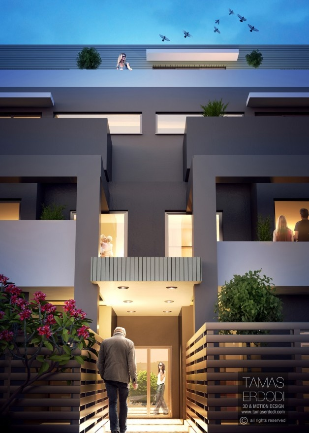 Aries apartments exterior views. Location: Melbourne,  Australia.  KBROS Projects | 3D Visualisation: Tamas Erdodi For high resolution image please visit: http://tamaserdodi.com/